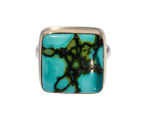 Square Hubei Turquoise Ring