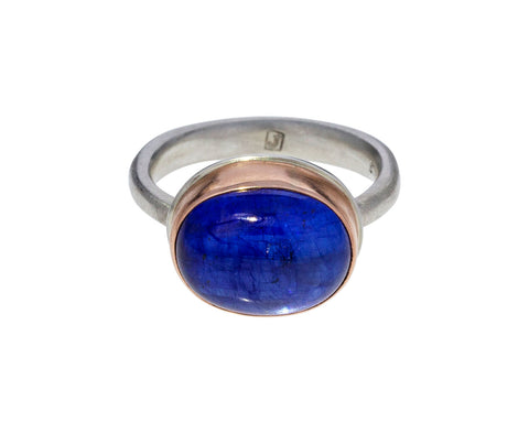 Oval Smooth Blue Sapphire Ring