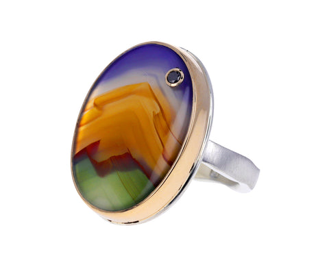 Landscape Agate and Black Diamond Ring