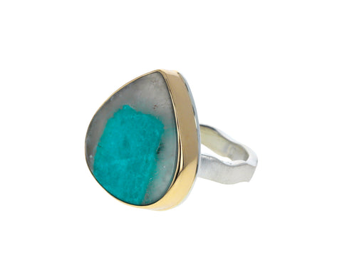 Amazonite in Quartz Ring