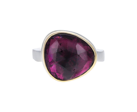 Rose Cut Pink Tourmaline Ring