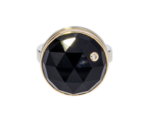 Round Onyx and Diamond Ring