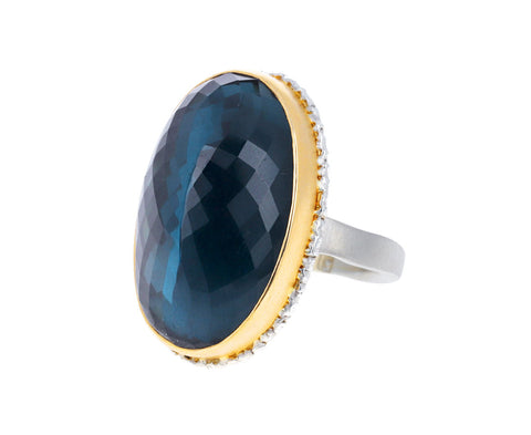 Inverted London Blue Topaz Ring