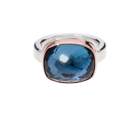 Inverted Rectangle London Blue Topaz Ring - TWISTonline