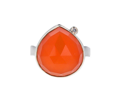 Lotus Orange Chalcedony and Diamond Ring