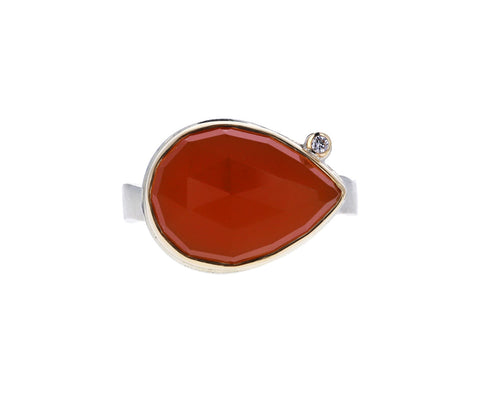 Orange Chalcedony and Diamond Ring