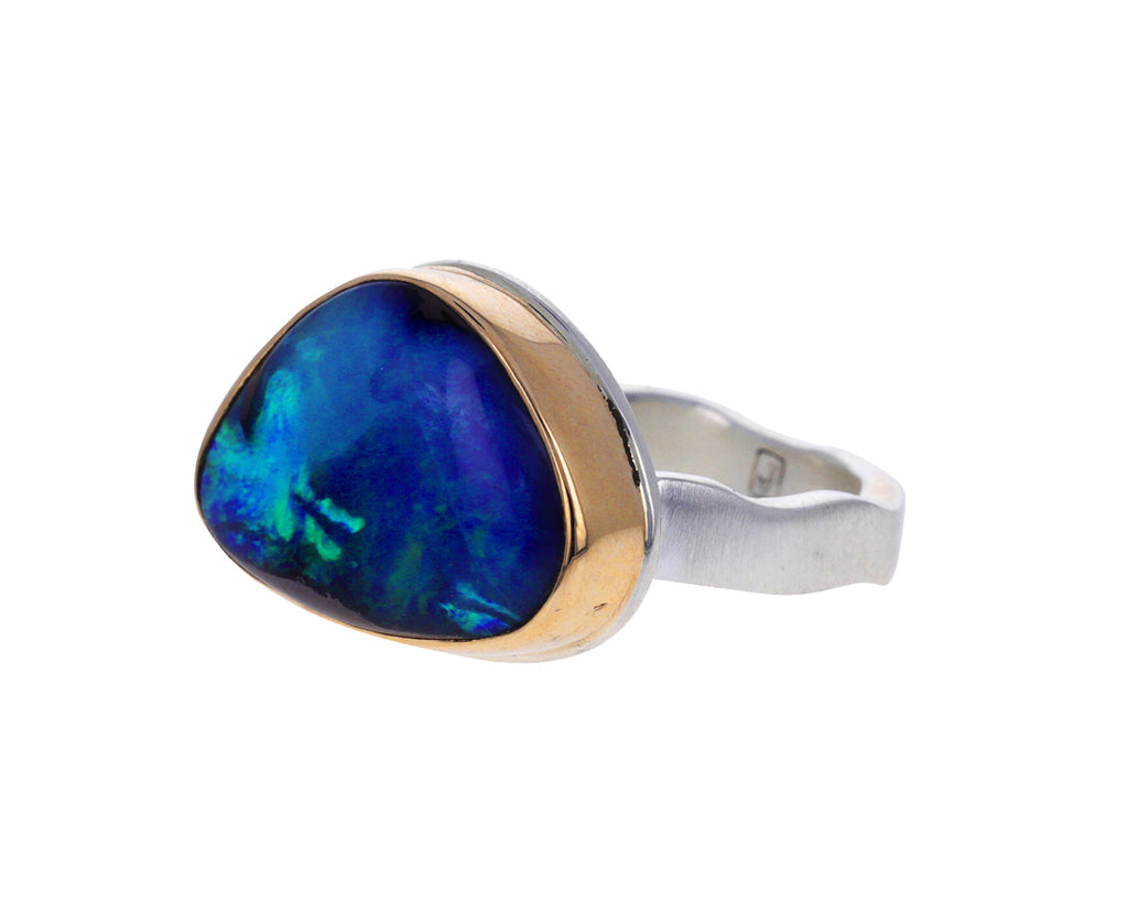 Asymmetrical Smooth Boulder Opal Ring