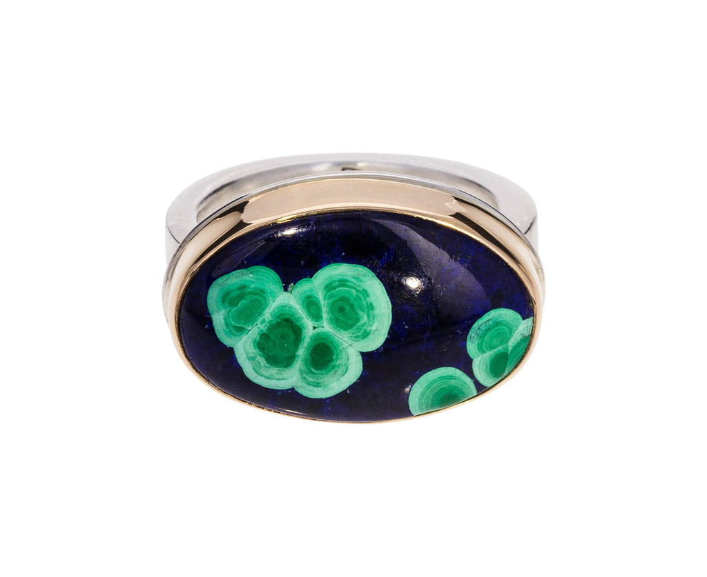 Oval Azurite Malachite Chrysocolla Ring