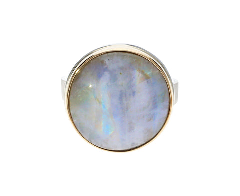 Round White Moonstone Ring