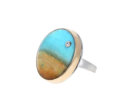 Blue Indonesian Fossilized Opalized Wood and Diamond Ring