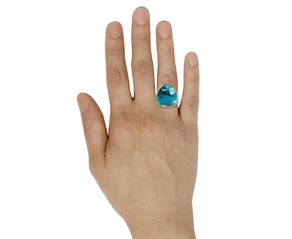 Indonesian Blue Opalized Wood Ring - TWISTonline