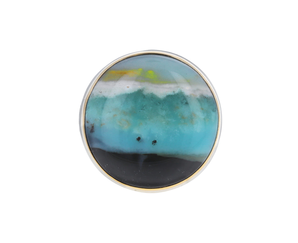 Indonesian Blue Fossilized Opalized Wood Ring