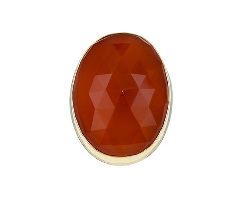 Oval Rose Cut Orange Chalcedony Ring