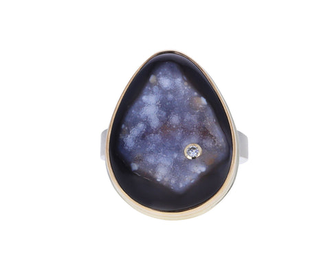 Teardrop Bali Drusy and Diamond Ring