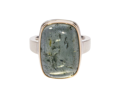 Rectangle Moss Aquamarine Ring