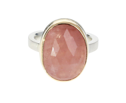 Oval Rose Cut Morganite Ring