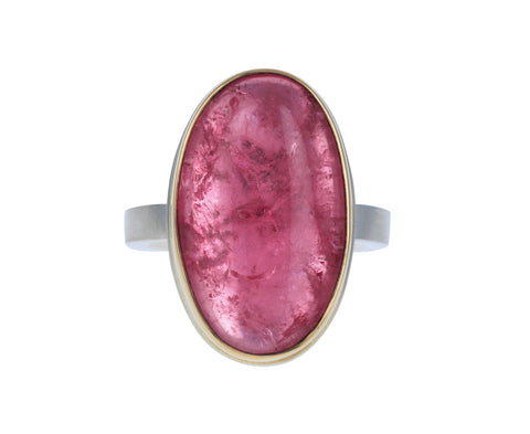 Vertical Oval Pink Tourmaline Ring