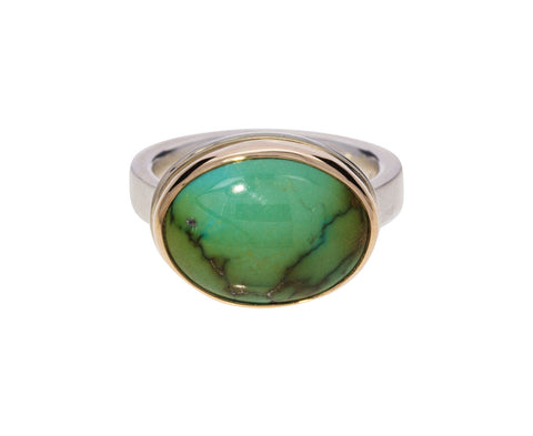 Smooth Oval Hubei Turquoise Ring