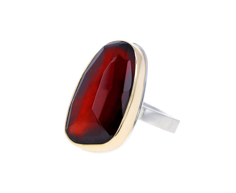 Asymmetrical Hessonite Garnet Ring