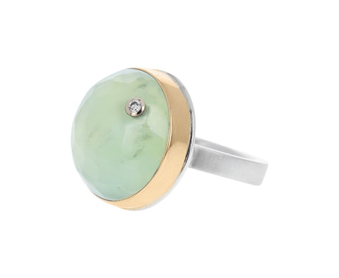 Round Prehnite and Diamond Ring