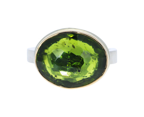 Hand Faceted Peridot Ring