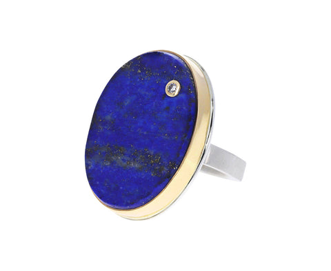 Surface Cut Lapis and Diamond Ring