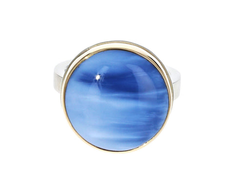 Round Indian Blue Opal Ring