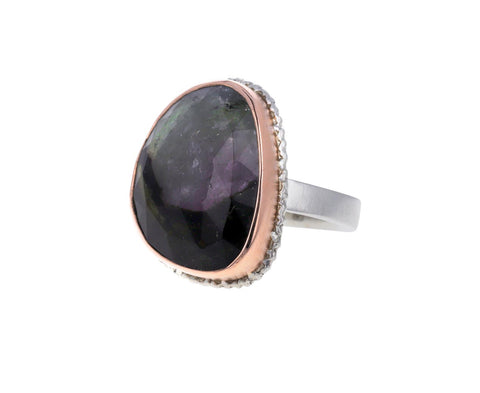 Asymmetrical Rose Cut Watermelon Tourmaline Ring