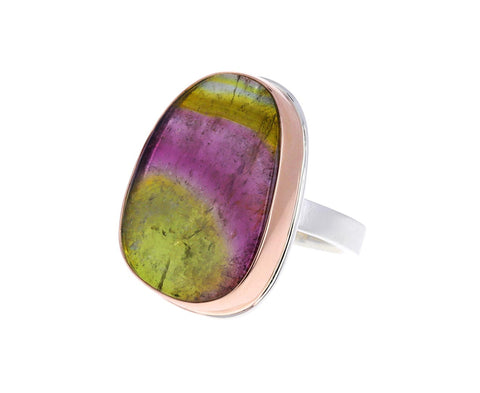 Asymmetrical Watermelon Tourmaline Ring