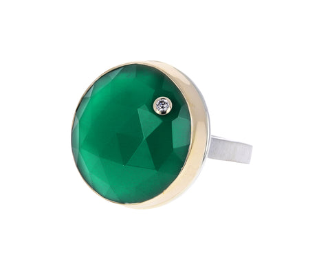 Rose Cut Green Onyx and Diamond Ring