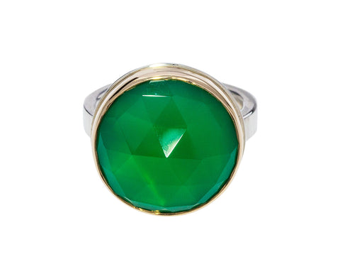 Rose Cut Green Onyx Ring