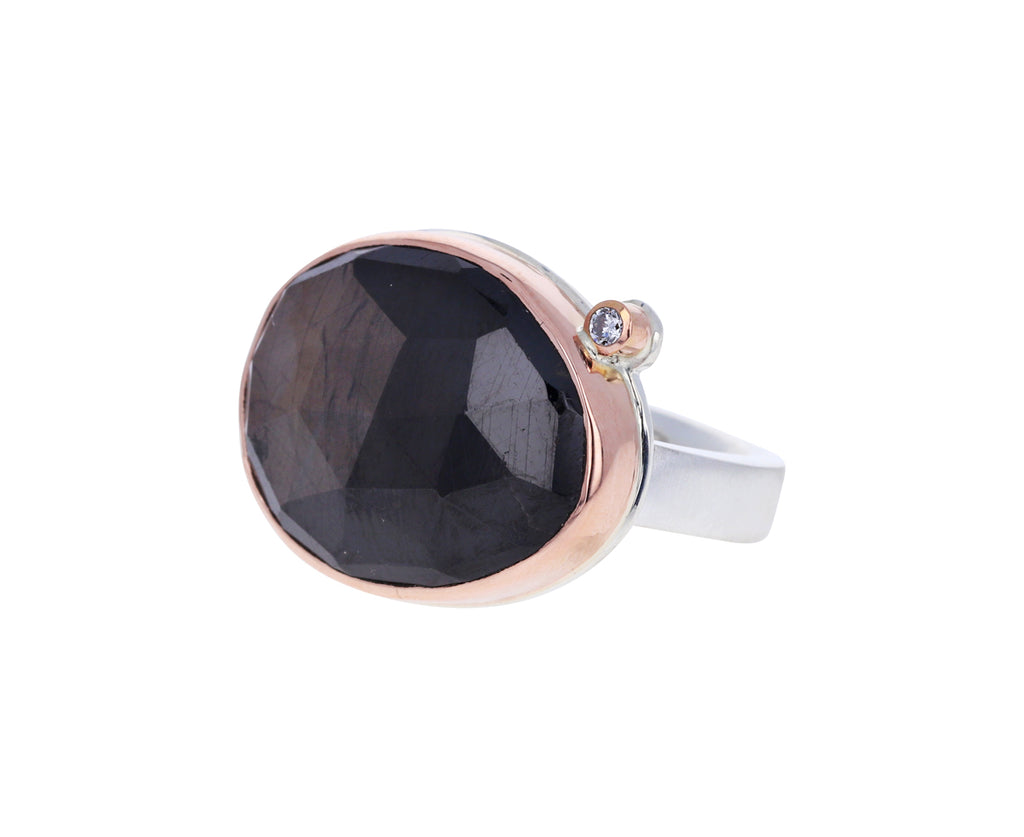 Asymmetrical Brown Sapphire and Diamond Ring