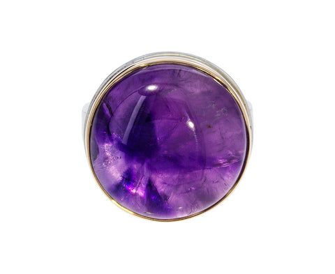 Smooth Round Amethyst Ring