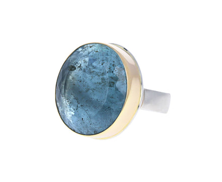 Oval Table Cut Aquamarine Ring