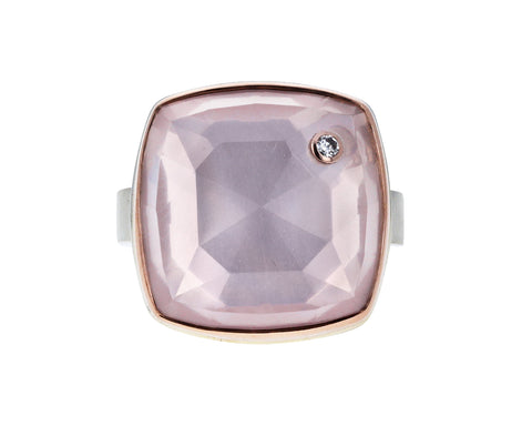 Rose Quartz and Diamond Ring