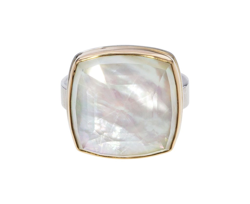 Rock Crystal over Mother of Pearl Ring