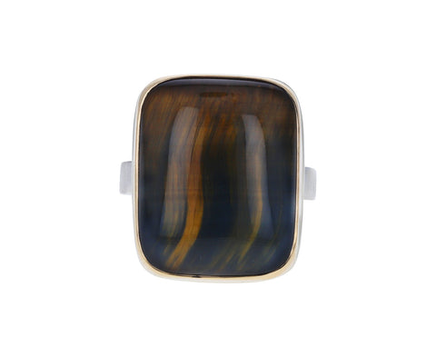 Smooth Rectangular Tigers Eye Ring