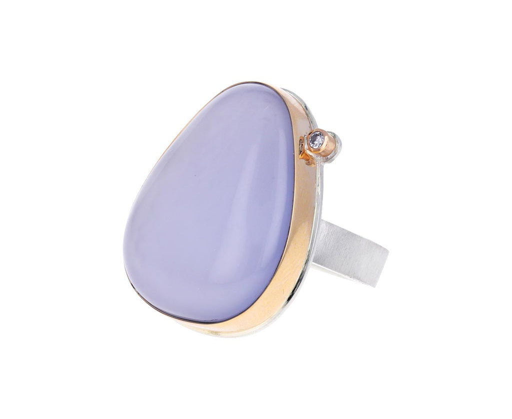 Teardrop Blue Chalcedony and Diamond Ring