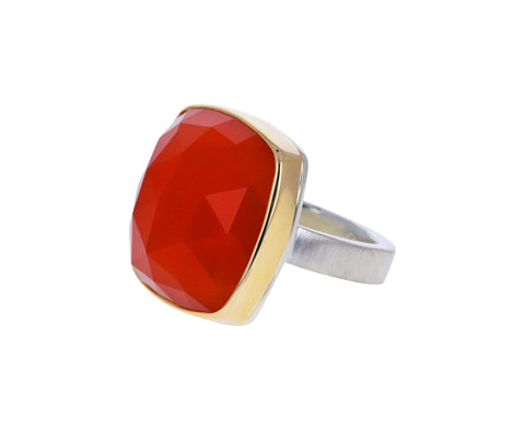 Square Orange Chalcedony Ring
