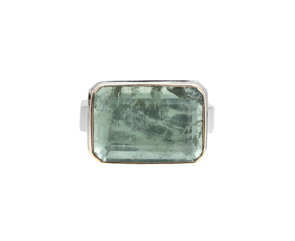 Rectangular Green Beryl Ring
