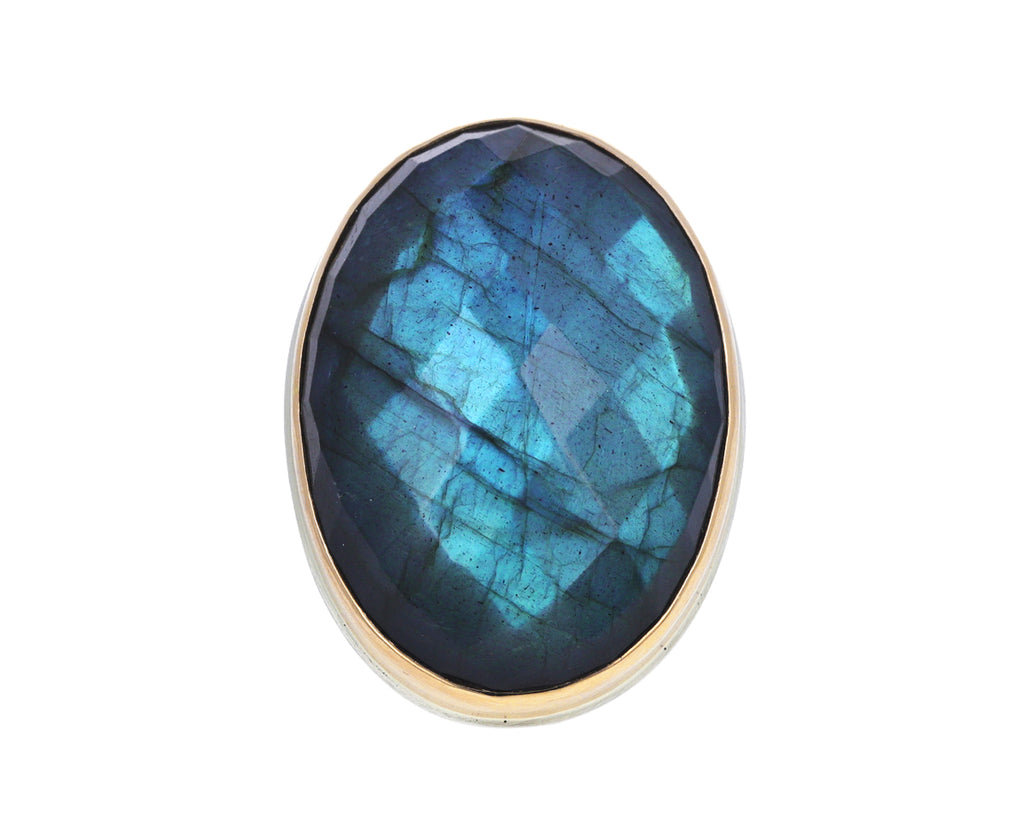 Large Oval Checkerboard Labradorite Ring