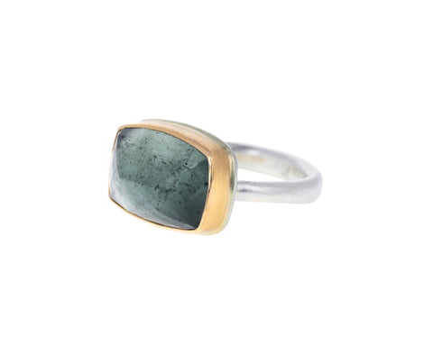 Rectangular Inverted Moss Aquamarine Ring