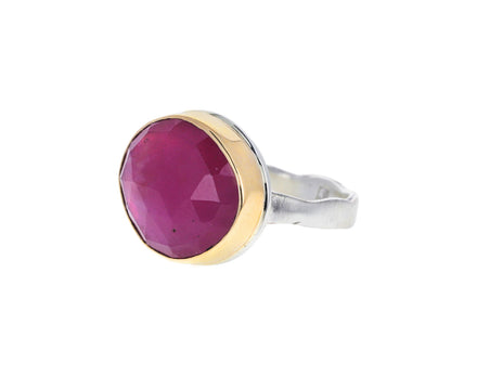 Asymmetrical Rose Cut African Ruby Ring