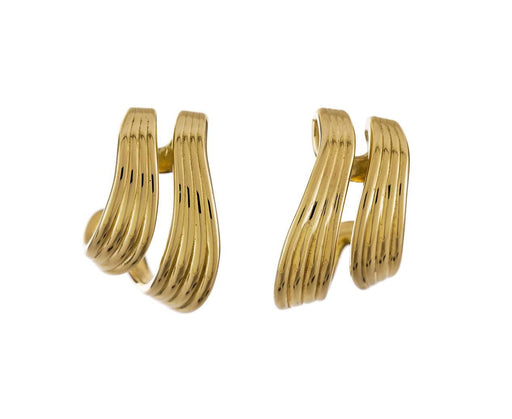 Yellow Gold Stream Line Double Hoops - TWISTonline