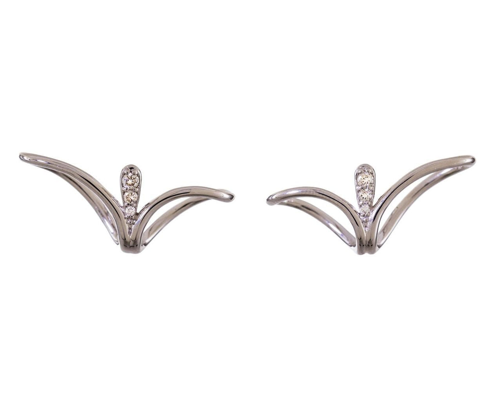 White Gold Fluid Diamond Lobe Posts - TWISTonline