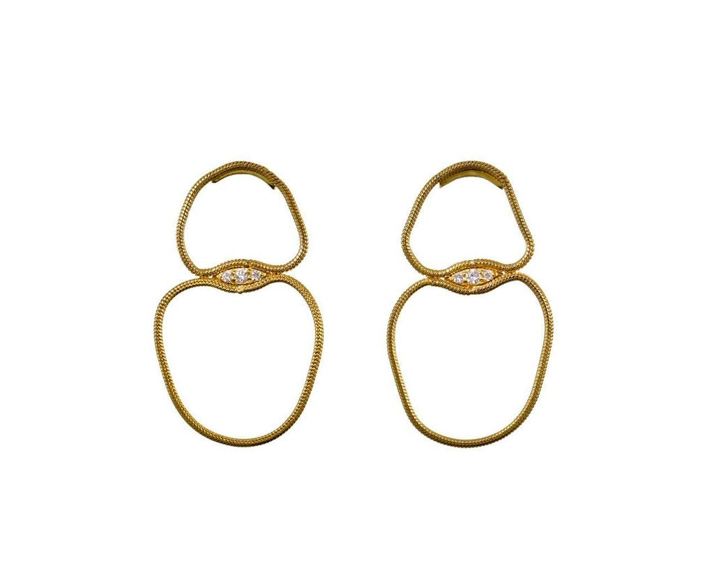 Yellow Gold Fluid Diamond Double Loop Earrings - TWISTonline