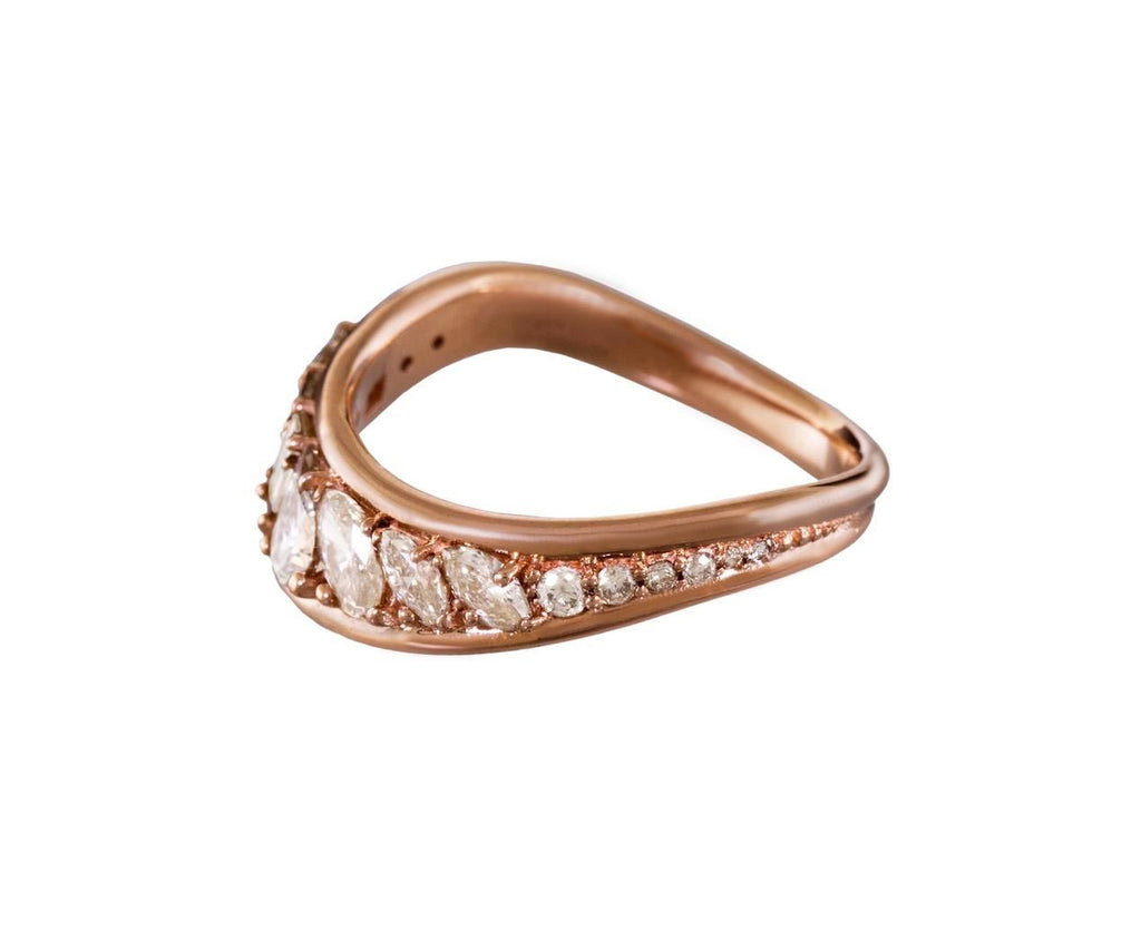 Pale Brown Diamond Stream Wave Ring - TWISTonline