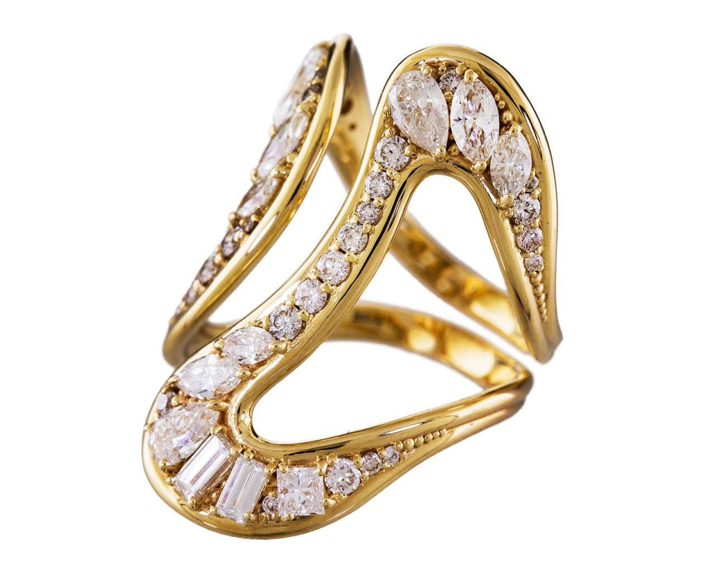 Yellow Gold and Diamond Stream Open Ring - TWISTonline