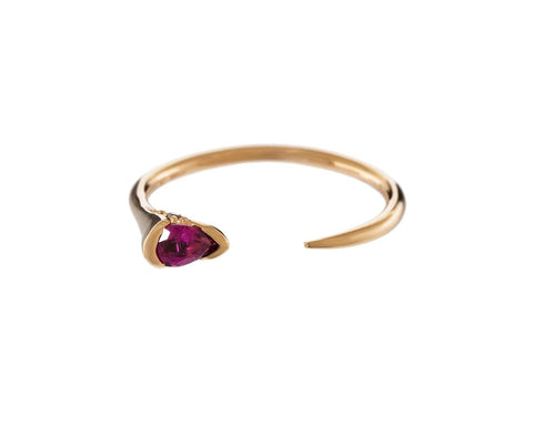 Pink Tourmaline and Brown Diamond Small Open Sprout Band - TWISTonline