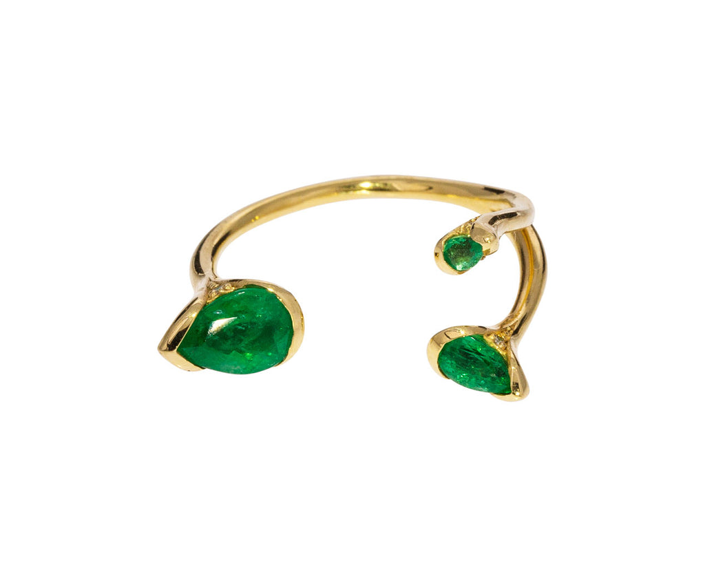 Petals Triple Emerald Ring